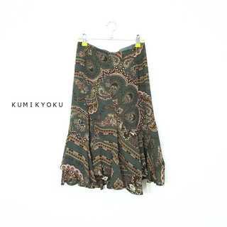 クミキョク(kumikyoku(組曲))のクミキョク★ペイズリー柄エスカルゴスカート カーキブラウン 1 シフォン(ひざ丈スカート)
