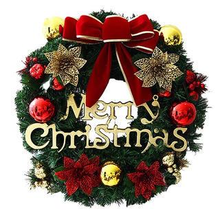 christmasクリスマスリース玄関飾り ドア飾りリボン おしゃれ(その他)