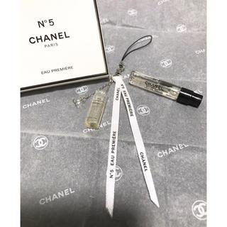 シャネル(CHANEL)のCHANEL シャネル CC香水瓶リボン3連チャーム(チャーム)