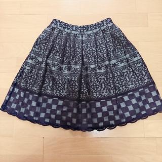 トッカ(TOCCA)のTOCCA トッカ オーガンジー刺繍スカート 0サイズ(ひざ丈スカート)