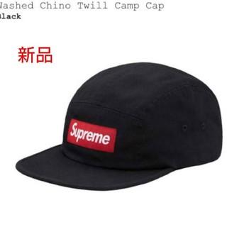 シュプリーム(Supreme)の黒赤箱 !washed Chino Twill Camp Cap  Black(キャップ)