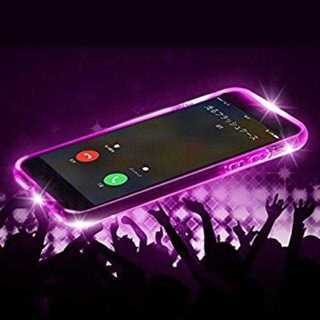 TA334 暗闇で光る☆iphone8/7PLUS用フラッシュケースパープル(キーホルダー)