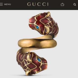グッチ(Gucci)のYves様専用 GUCCI ブラックエナメル付きタイガーヘッド リング  レッド(リング(指輪))