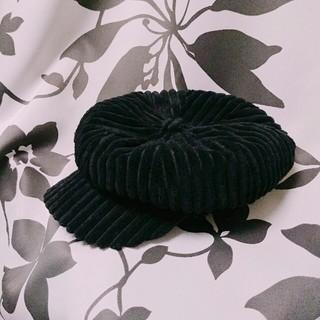 【着用1~2回】黒キャスケット 頭周り15~27cm(キャスケット)