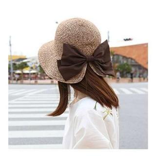 【在庫処分セール】麦わら帽子 UVカット かわいいバックリボン付き☆新品(麦わら帽子/ストローハット)