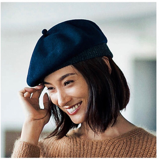 カシラ(CA4LA)の雑誌 LEE掲載 mature ha. リブ付きベレー帽(ハンチング/ベレー帽)