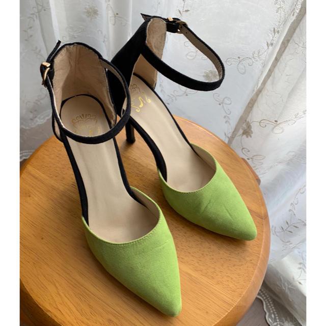 グリーン+ブラック スエードパンプス 9cmヒール レディースの靴/シューズ(ハイヒール/パンプス)の商品写真