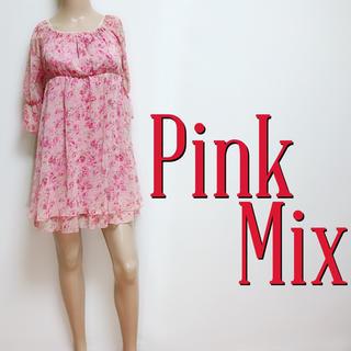 ピンクミックス(Pink Mix)のゆるふわ♪ピンクミックス バックリボン ガーリーワンピース♡ダズリン リズリサ(ミニワンピース)