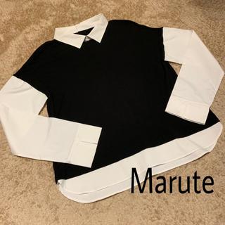 Marute 白襟 重ね着風 トップス(カットソー(長袖/七分))