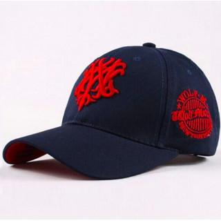 ネイビー×レッド WOLF マーク コスプレ ミリタリー キャップ 帽子(キャップ)