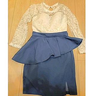 ジュエルズ(JEWELS)の美品 Jewels ジュエルズ ペプラム レース ドレス キャバクラ キャバ嬢(ナイトドレス)
