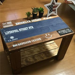 木製ラックテーブル カフェテーブル(コーヒーテーブル/サイドテーブル)