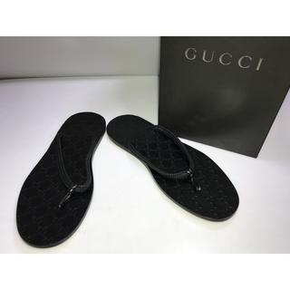 グッチ(Gucci)の箱付GUCCIグッチサンダル黒WG柄GG柄シグネチャー総柄9.5D26.5cm(サンダル)