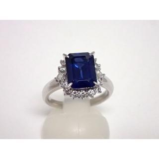 Pt900■鑑定書付■とても綺麗★3.89ct大粒サファイアダイヤモンドリング(リング(指輪))