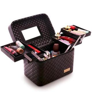 ブラック 大容量* メイクボックス 化粧ボックス(ドレッサー/鏡台)