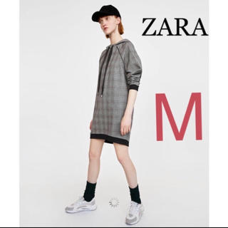ZARA - ZARA フード付き ワンピース チェック柄ワンピース