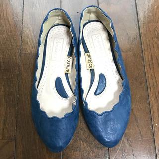 靴 パンプス 22.5cm 韓国 ブルー 青(ハイヒール/パンプス)