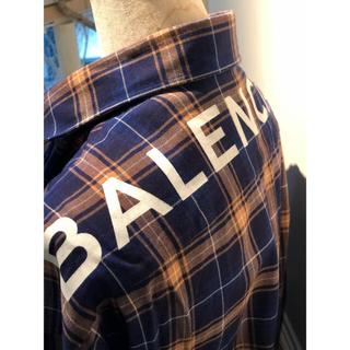 バレンシアガ(Balenciaga)のバレンシアガ Balenciaga ロゴチェックシャツ 青 40(シャツ)