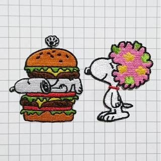 スヌーピー ハンバーガー アフロ 2点セット アイロン ワッペン