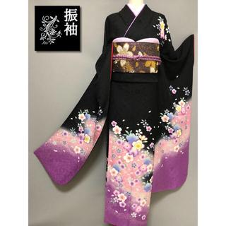 新品【桜地紋☆振袖】トールサイズ   ブラック×ラベンダー(振袖)