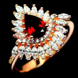 新品★鑑別書付★ 14号 燃える赤橙 4ct天然オレンジガーネット指輪(リング(指輪))
