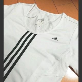 アディダス(adidas)のadidas3ラインホワイトストレッチシャツ(シャツ/ブラウス(長袖/七分))