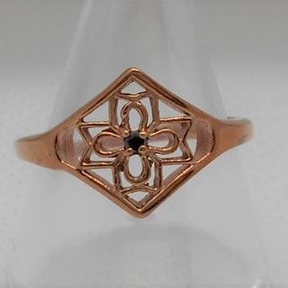 【新品】ステンレス リング ダイヤ型 アラベスク模様 14号 ローズゴールド(リング(指輪))
