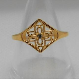 【新品】ステンレス リング ダイヤ型アラベスク模様 14号 ゴールド(リング(指輪))