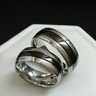 新品☆ペアリング☆刻印無料♥ブラックライン アラベスク♥ペア価格♥ネーム彫り(リング(指輪))