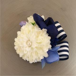 toytoy245 小さなコサージュ お花の髪飾り ストライプ(コサージュ/ブローチ)