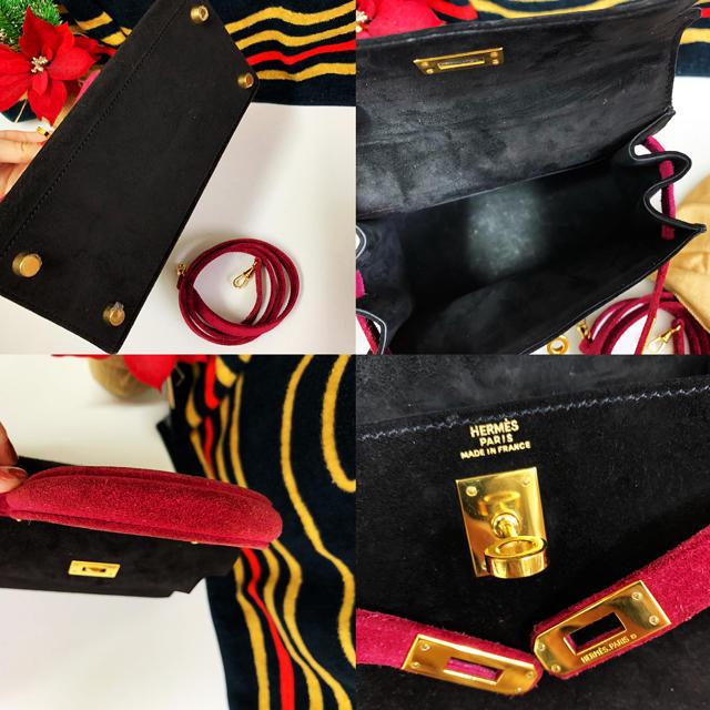 Hermes(エルメス)のエルメス ケリー 20  スエード 黒赤紫 ○Y刻印235万円 レディースのバッグ(ショルダーバッグ)の商品写真