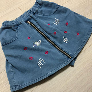 ジディー(ZIDDY)のZIDDY160Fリップ刺繍デニムスカート(スカート)
