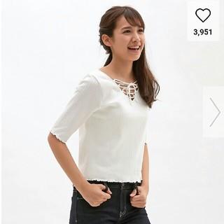 ジーユー(GU)のGU レースアップ Tシャツ 五分袖(Tシャツ(長袖/七分))