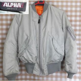 アルファインダストリーズ(ALPHA INDUSTRIES)のアルファ MA-1 93年 IDEALジッパー 旧ロゴ シルバー M【送料込】(フライトジャケット)
