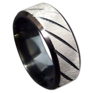 【19号】【ブラック】ステンレスツイルリング 指輪 メンズ レディース(リング(指輪))