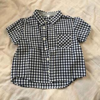 ムジルシリョウヒン(MUJI (無印良品))の無印良品 良品計画 MUJI 男の子 ブロックチェックシャツ 90 半袖ネイビー(ブラウス)