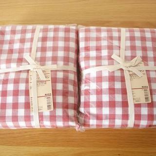 MUJI (無印良品) - 無印良品 赤チェックカーテン2枚■100×178cm丈 プリーツカーテン 新品