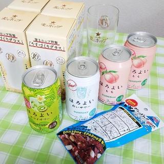 サントリー(サントリー)の新品★麦とホップうすづくりグラス4個&ほろよい4缶&バリ勝男クン1袋セット(リキュール/果実酒)