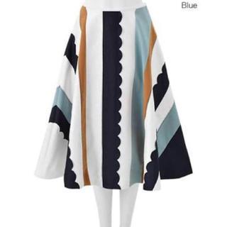 チェスティ(Chesty)のchesty チェスティ Scallop Skirt ブルー(ひざ丈スカート)