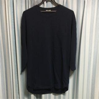 ジーユー(GU)のGU レイヤード ビック クルーネック Tシャツ 7分袖  ネイビー(Tシャツ/カットソー(七分/長袖))