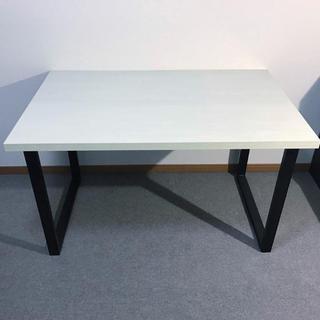 フランフラン(Francfranc)の期間値下げセンターテーブル リビングテーブル 白黒 鉄脚 おしゃれ(ダイニングテーブル)