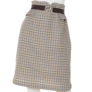 rirandture チェックペプラムタイトスカート