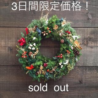 三連休限定価格!!存在感たっぷりの木ノ実いっぱい クリスマスリース!(リース)