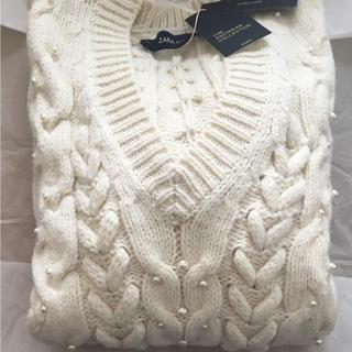 ラス1 ザラ パール ケーブルニット セーター Vネック リブ かぎ編み ブーツ