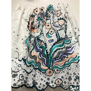 ツモリチサト(TSUMORI CHISATO)のツモリチサト 新品 豪華 鳥 花 刺繍 大人可愛い スカート 綿 裏地 別付き(ひざ丈スカート)