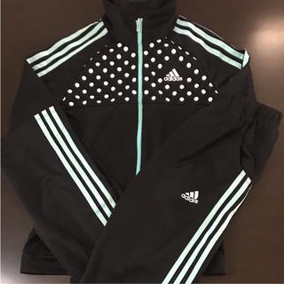 アディダス(adidas)の150㎝ adidas キッズ ジャージ上下セット ブラック×エメラルドグリーン(その他)