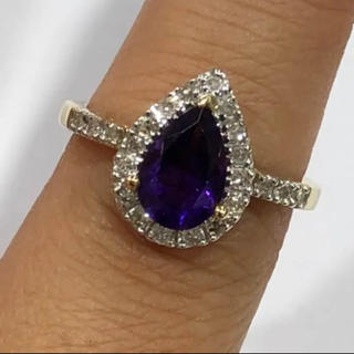 K14 アメジスト ダイヤモンド リング(リング(指輪))