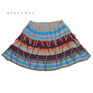 ステファネル(STEFANEL)の新品ステファネルSTEFANELフォークロアニットフレアースカートXS(ミニスカート)