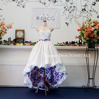 ウエディングドレス(パニエ無料) ショートドレス(内側パープル) 披露宴/二次会(ウェディングドレス)