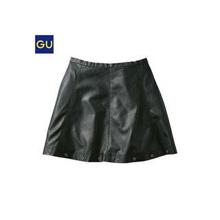 ジーユー(GU)のフェイクレザースカート スタッズ Sサイズ ブラック(ミニワンピース)